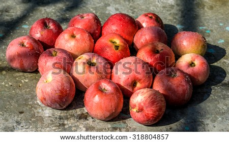 Vivid freshly picked red apples with contrasting shadows on the old metal table warm filtered - stock photo