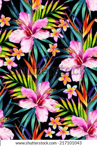 Vivid jungle seamless pattern illustration in watercolor  - stock photo
