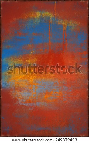 Vivid Metal Texture with Rusty Seams Along Edges (Part of Colorful Metal Textures set, which includes 12 textures that fit together perfectly to form a huge image) - stock photo