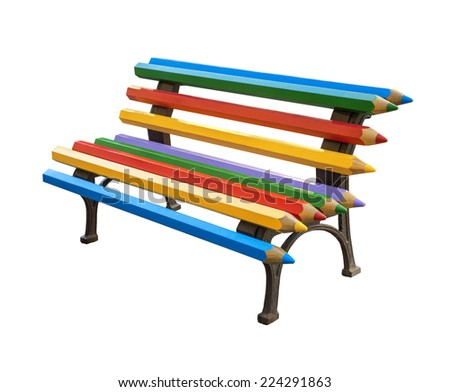 Vivid multi colored street art design bench isolated on white background with clipping mask. Wrought-iron legs, which are attached wooden beams in the form of colored pencils - stock photo