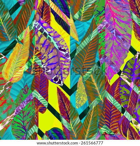Vivid pattern floral ornament, tropical foliage seamless pattern, leaves, leaf in a dark tropical plants, colorful watercolor foliage on a zigzag background. Overlay effect, Art Deco design - stock photo