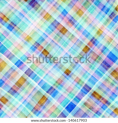 Vivid plaid watercolor. Hand painted brush strokes background - stock photo