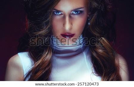 vivid portrait of a girl with fashion make-up analog film imitation - stock photo