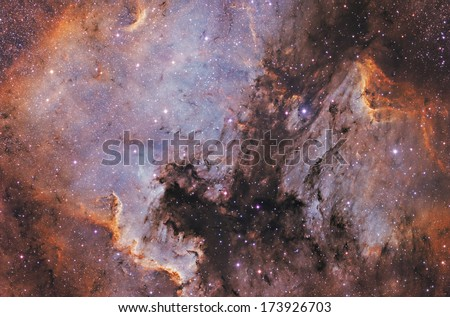 Vivid space nebula - supernova remnant.  - stock photo