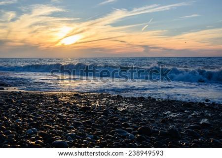 Vivid sunset over the Black Sea - stock photo