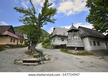 Vlkolinec - Unesco historical village in Slovakia - stock photo