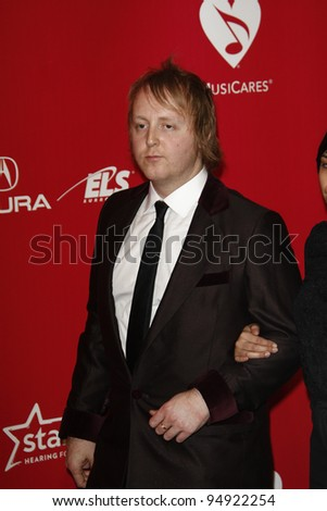 vLOS ANGELES - FEB 10:  James McCartney arrives at the 2012 MusiCares Gala honoring Paul McCartney at LA Convention Center on February 10, 2012 in Los Angeles, CA - stock photo