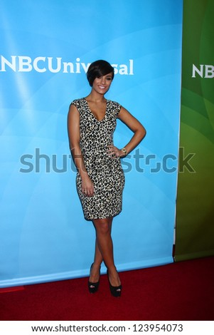vLOS ANGELES - JAN 7:  Frankie Sandford of 'The Saturdays' attends the NBCUniversal 2013 TCA Winter Press Tour at Langham Huntington Hotel on January 7, 2013 in Pasadena, CA - stock photo