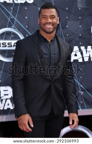 vLOS ANGELES - JUN 28:  Russell Wilson at the 2015 BET Awards - Arrivals at the Microsoft Theater on June 28, 2015 in Los Angeles, CA - stock photo