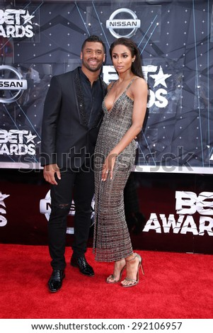 vLOS ANGELES - JUN 28:  Russell Wilson, Ciara at the 2015 BET Awards - Arrivals at the Microsoft Theater on June 28, 2015 in Los Angeles, CA - stock photo