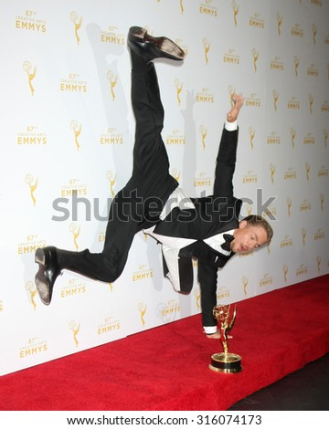 vLOS ANGELES - SEP 12:  Derek Hough at the Primetime Creative Emmy Awards Press Room at the Microsoft Theater on September 12, 2015 in Los Angeles, CA - stock photo