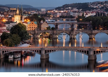 Vltava and bridges in Prague, Czech Republic - stock photo