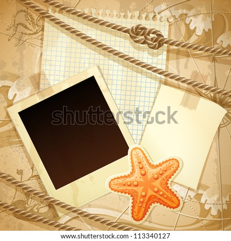 Vntage nautical scrapbook background - raster version - stock photo