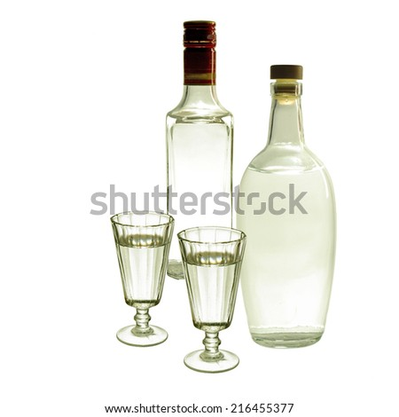 Vodka and gin isolated on white background - stock photo