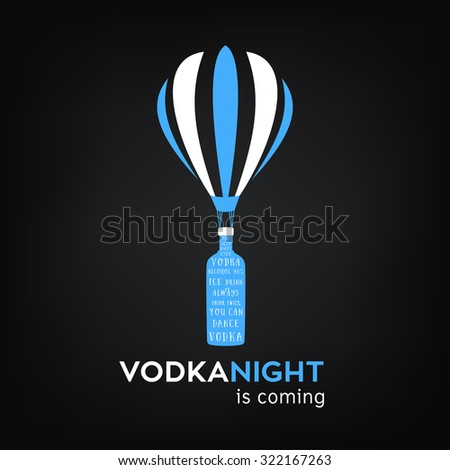 Vodka bottle on an air balloon illustration for pub and party over black background. - stock photo
