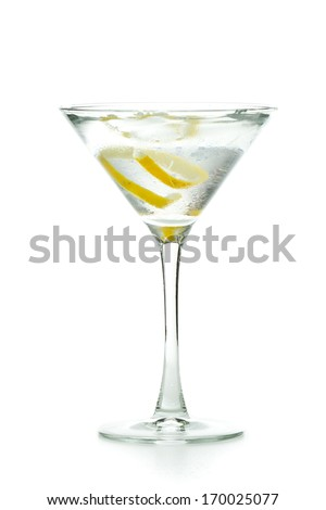 vodka martini garnished with a lemon twist isolated on a white background - stock photo