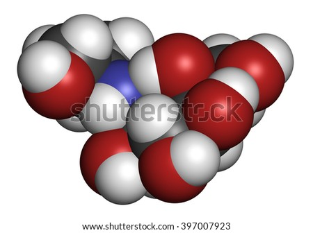 Voglibose diabetes drug molecule. 3D rendering. Atoms are represented as spheres with conventional color coding: hydrogen (white), carbon (grey), nitrogen (blue), oxygen (red). - stock photo