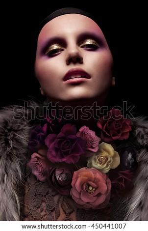 Vogue portrait of a woman. Fashion concept photo. Art installation. Flower. - stock photo