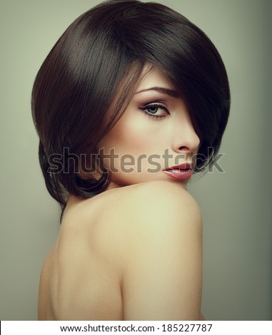 Vogue portrait of alluring woman with short hair style. Closeup - stock photo