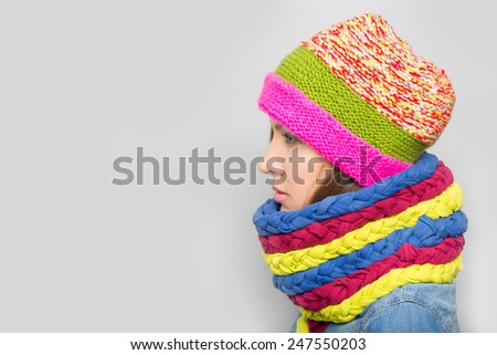 Vogue scarf woman. Scarf made from old t shirts. Reuse concept - stock photo