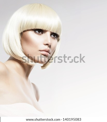 Vogue Style Beauty Fashion Model Portrait. Haircut. Hairstyle. Hairdressing. Fringe. Beautiful Glamour Girl with Short Blond hair - stock photo