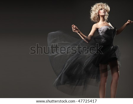 Vogue style photo of a cute blonde beauty - stock photo