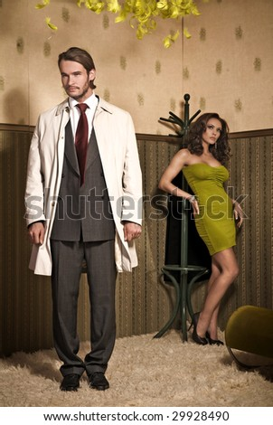 Vogue style photo of an attractive couple - stock photo