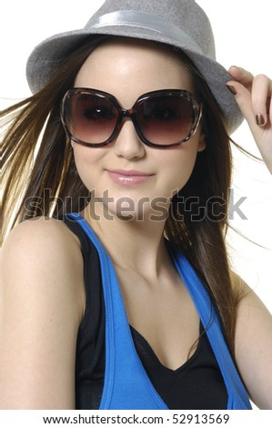 Vogue style photo of fashion model  wears sunglasses - stock photo