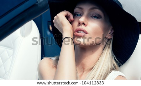 Vogue style portrait of a beautiful delicate woman - stock photo