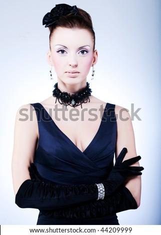 Vogue style vintage portrait - stock photo