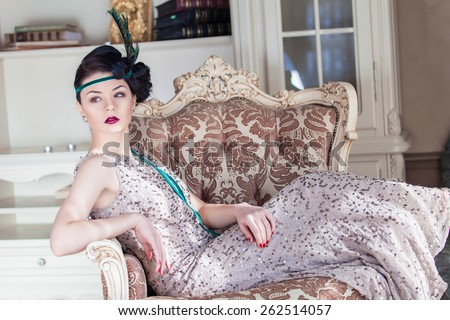 Vogue style vintage portrait. Chicago. Retro-stylized woman - stock photo