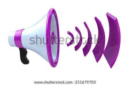 Voice broadcasting. Megaphone or loudspeaker  - stock photo