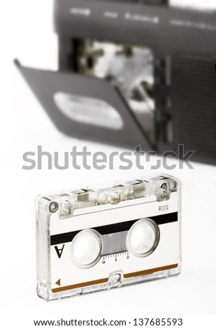Voice Recorder And Cassette - stock photo