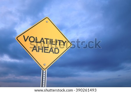 Volatility Ahead Road Warning Sign , 3d render - stock photo