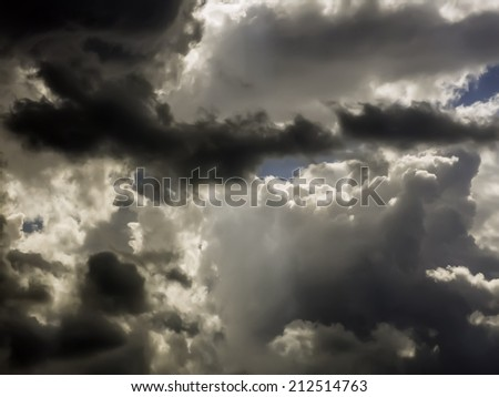 Volatility at a glance: Uncertainty of weather on a summer afternoon - stock photo