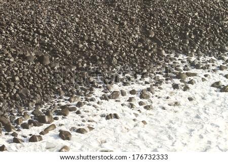 volcanic beach (La Palma) - stock photo
