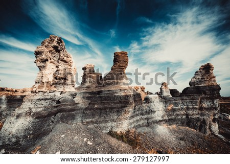 volcanic canyon on Lanzarote, Canary Islands, Spain - stock photo