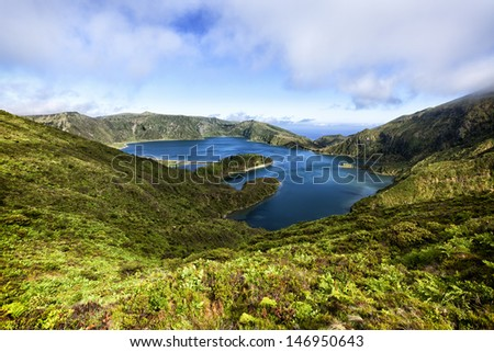 Volcanic crater lake Lagoa do Fogo on the island of Sao Miguel - stock photo