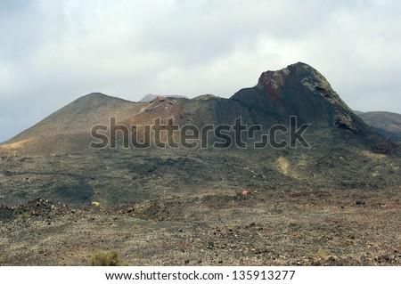 Volcanic crater. Timanfaya national park. Lanzarote - stock photo