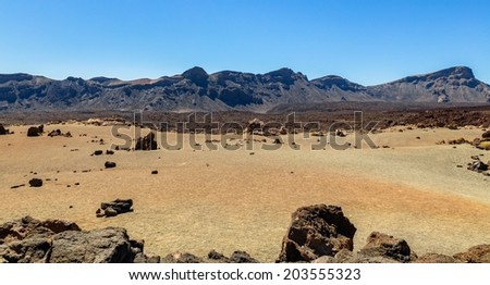 Volcanic desert caused by the Teide volcano in Tenerife. - stock photo