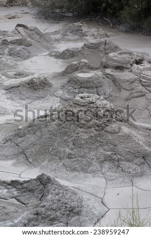 Volcanic dry mud. New Zealand near Rotorua - stock photo