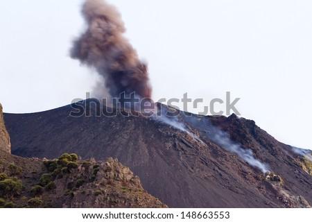 Volcanic eruption in Stromboli island, Italy. - stock photo
