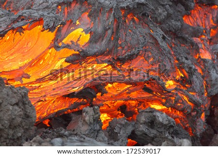 Volcanic eruption Tolbachik. Lava flow. - stock photo