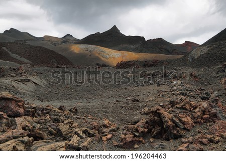 Volcanic landscape around Volcano Sierra Negra, of Isabela island, Galapagos Islands, Ecuador. The second largest crater in the world - stock photo
