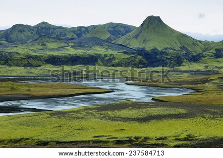 Volcanic landscape in Lakagigar, Iceland highlands - stock photo