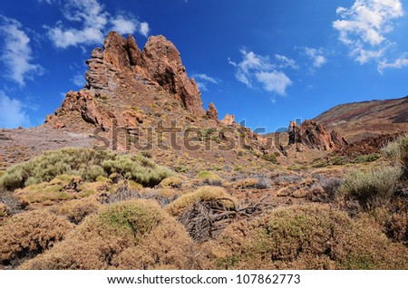 Volcanic landscape on Teide, Tenerife, Canary Islands, Spain - stock photo