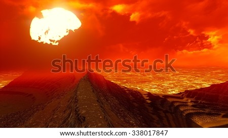 Volcanic landscape seen from above - stock photo