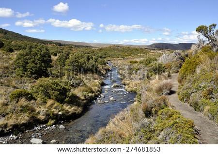 Volcanic nature landscape on Tongariro trail in New Zealand. - stock photo