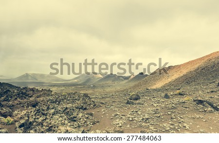 volcano and lava desert. Lanzarote, Canary islands - stock photo