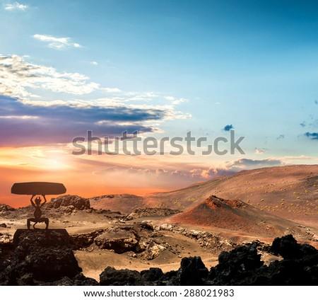 volcano and lava desert. Lanzarote, Canary islands - stock photo